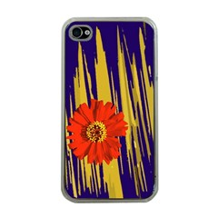 Red Flower Apple iPhone 4 Case (Clear)