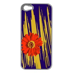 Red Flower Apple iPhone 5 Case (Silver)