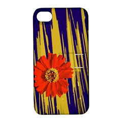 Red Flower Apple Iphone 4/4s Hardshell Case With Stand