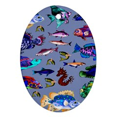 Fishy Oval Ornament (Two Sides)