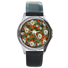 Flowers Round Leather Watch (Silver Rim)