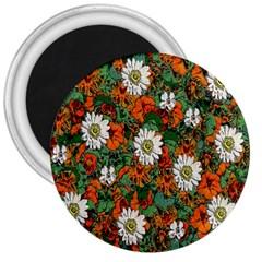 Flowers 3  Button Magnet