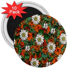 Flowers 3  Button Magnet (10 pack)