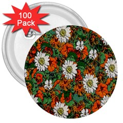 Flowers 3  Button (100 Pack)