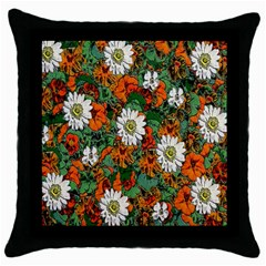 Flowers Black Throw Pillow Case