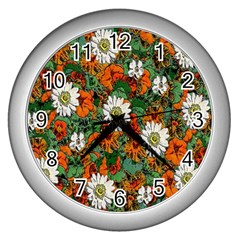 Flowers Wall Clock (silver)