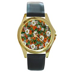 Flowers Round Leather Watch (Gold Rim)