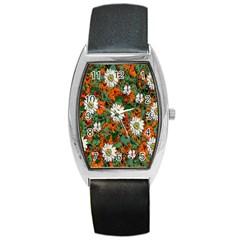 Flowers Tonneau Leather Watch