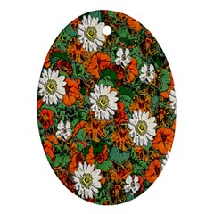 Flowers Oval Ornament (Two Sides)