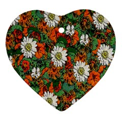 Flowers Heart Ornament (Two Sides)