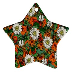 Flowers Star Ornament (two Sides)