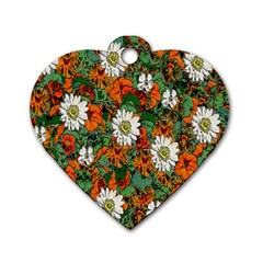 Flowers Dog Tag Heart (Two Sided)