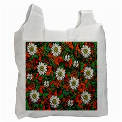 Flowers White Reusable Bag (one Side)