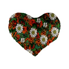 Flowers 16  Premium Heart Shape Cushion