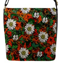 Flowers Flap Closure Messenger Bag (small)