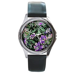 Garden Greens Round Leather Watch (Silver Rim)