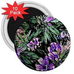 Garden Greens 3  Button Magnet (10 Pack)