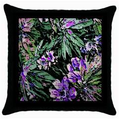 Garden Greens Black Throw Pillow Case