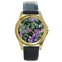 Garden Greens Round Leather Watch (gold Rim)