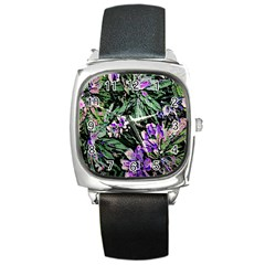 Garden Greens Square Leather Watch