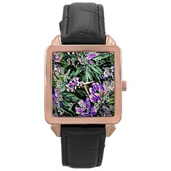 Garden Greens Rose Gold Leather Watch