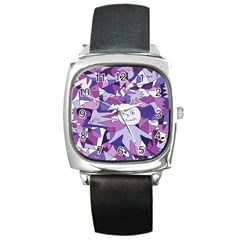 Fms Confusion Square Leather Watch
