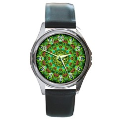 Peacock Feathers Mandala Round Leather Watch (silver Rim)