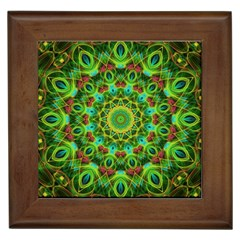 Peacock Feathers Mandala Framed Ceramic Tile