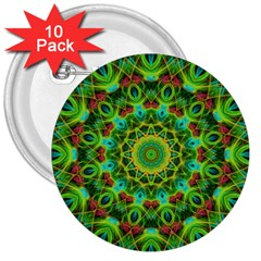 Peacock Feathers Mandala 3  Button (10 Pack)