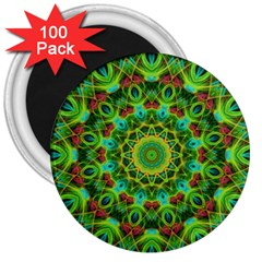 Peacock Feathers Mandala 3  Button Magnet (100 pack)