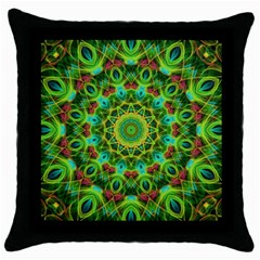 Peacock Feathers Mandala Black Throw Pillow Case