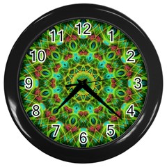 Peacock Feathers Mandala Wall Clock (Black)