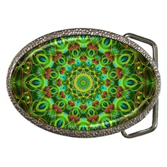 Peacock Feathers Mandala Belt Buckle (Oval)