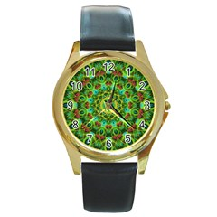 Peacock Feathers Mandala Round Leather Watch (Gold Rim)