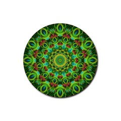 Peacock Feathers Mandala Drink Coasters 4 Pack (round)
