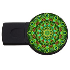 Peacock Feathers Mandala 1GB USB Flash Drive (Round)
