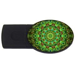 Peacock Feathers Mandala 2gb Usb Flash Drive (oval)