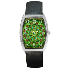 Peacock Feathers Mandala Tonneau Leather Watch