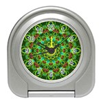 Peacock Feathers Mandala Desk Alarm Clock Front