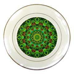 Peacock Feathers Mandala Porcelain Display Plate