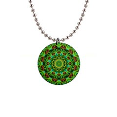 Peacock Feathers Mandala Button Necklace