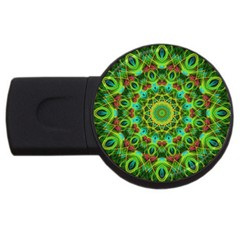 Peacock Feathers Mandala 4gb Usb Flash Drive (round)