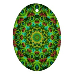 Peacock Feathers Mandala Oval Ornament (Two Sides)