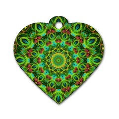 Peacock Feathers Mandala Dog Tag Heart (two Sided)