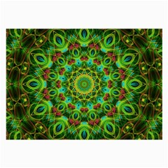 Peacock Feathers Mandala Glasses Cloth (large, Two Sided)