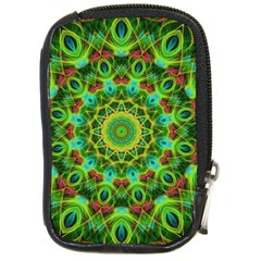 Peacock Feathers Mandala Compact Camera Leather Case