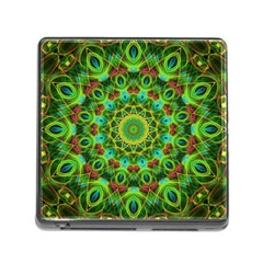 Peacock Feathers Mandala Memory Card Reader with Storage (Square)