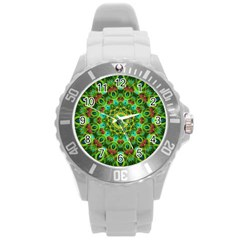 Peacock Feathers Mandala Plastic Sport Watch (Large)