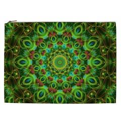 Peacock Feathers Mandala Cosmetic Bag (xxl)