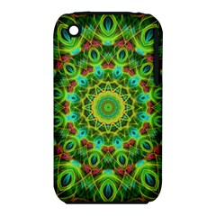 Peacock Feathers Mandala Apple iPhone 3G/3GS Hardshell Case (PC+Silicone)